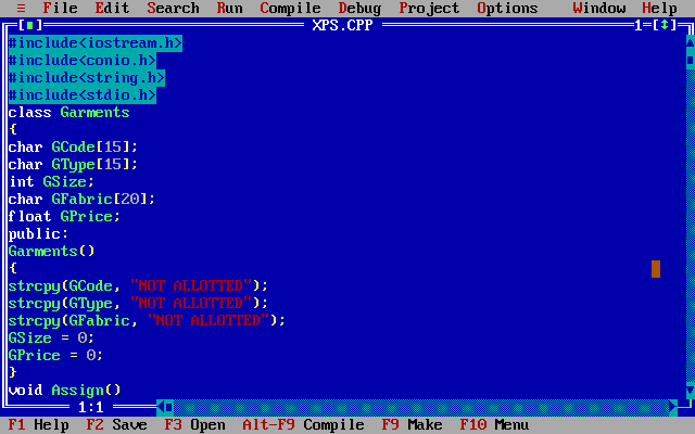 Turbo C++ WIndow
