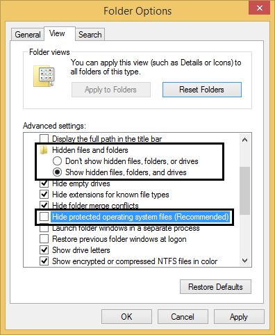 Show/Hide Files Folders Window